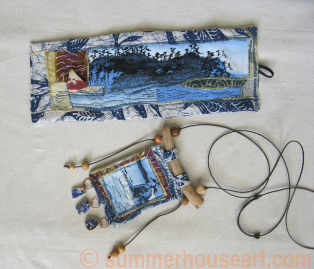 """""""Beach"""" Free Motion Fabric collage Cuff and Necklace by Helen Bushell, summerhouseart.com"""