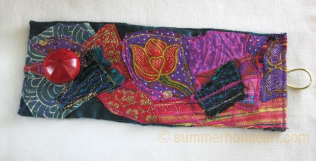 Floral Fabric Collage Cuff by Helen Bushell, summerhouseart.com