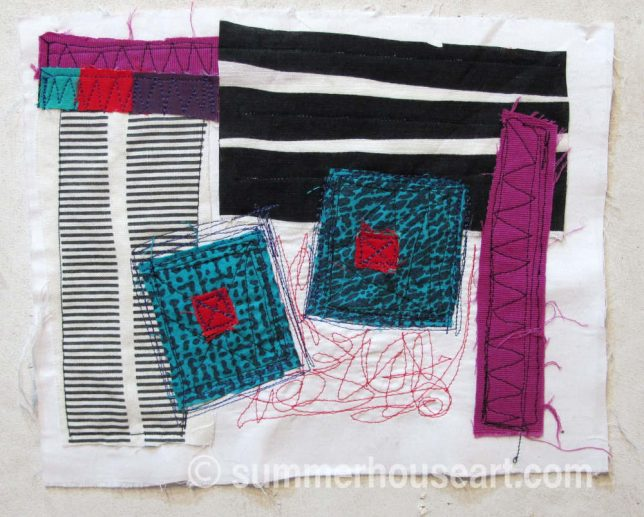 Squares and Stripes, fabric collage, by Helen Bushell, summerhouseart.com