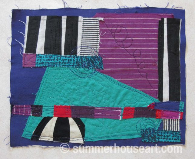 Colourband, fabric collage, by Helen Bushell, summerhouseart.com