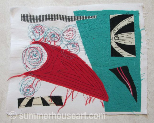 Red Rocket, fabric collage, by Helen Bushell, summerhouseart.com