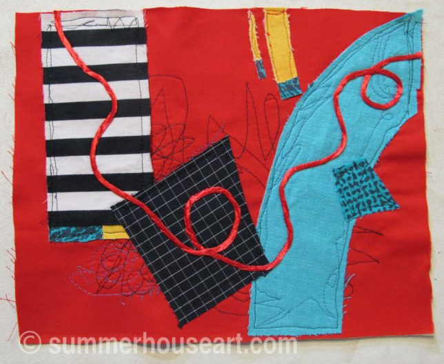 Fabric Collage on Red, by Helen Bushell, summerhouseart.com