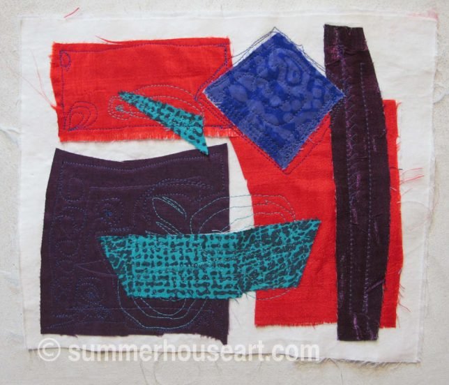 Fabric collage, Helen Bushell, summerhouseart.com