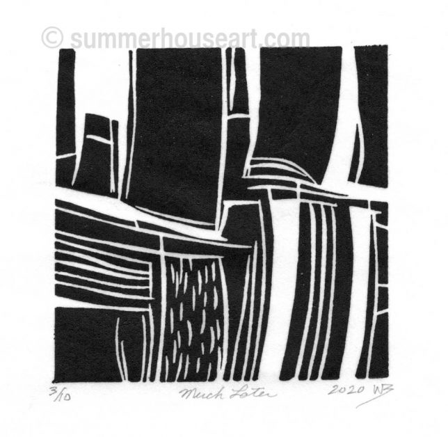 """Much Later"" lino cut, by Will Bushell, summerhouseart.com"