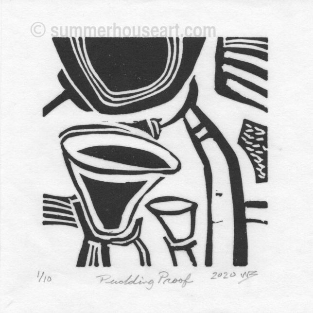 """Pudding Proof"", lino cut, by Will Bushell, summerhouseart.com"