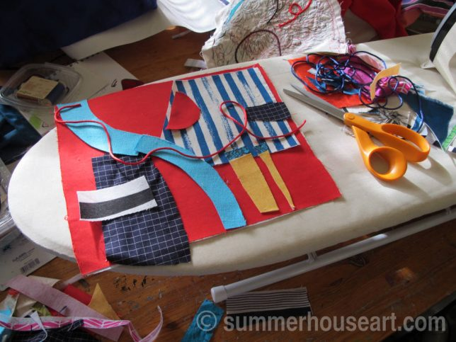 Fabric collage creation in my studio, Helen Bushell, summerhouseart.com