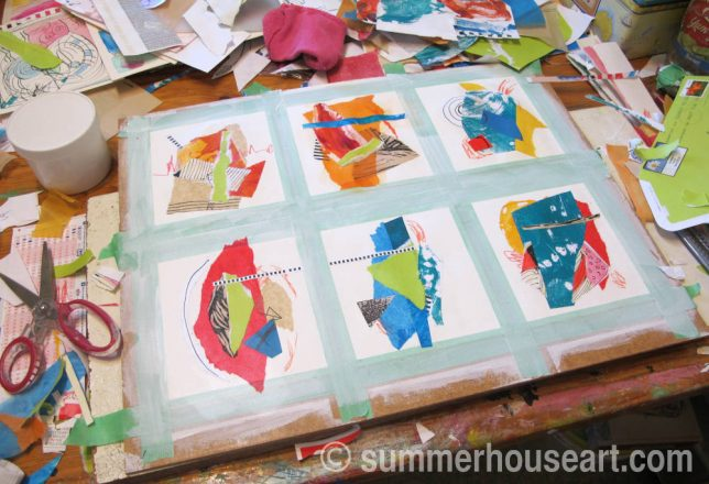Creating paper collage in my studio, Helen Bushell, summerhouseart.com
