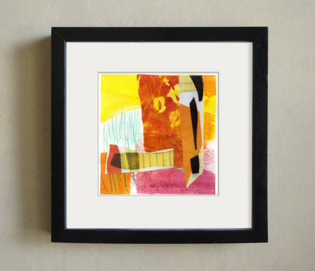 Framed small Abstract Collage by Helen Bushell, summerhouseart.com