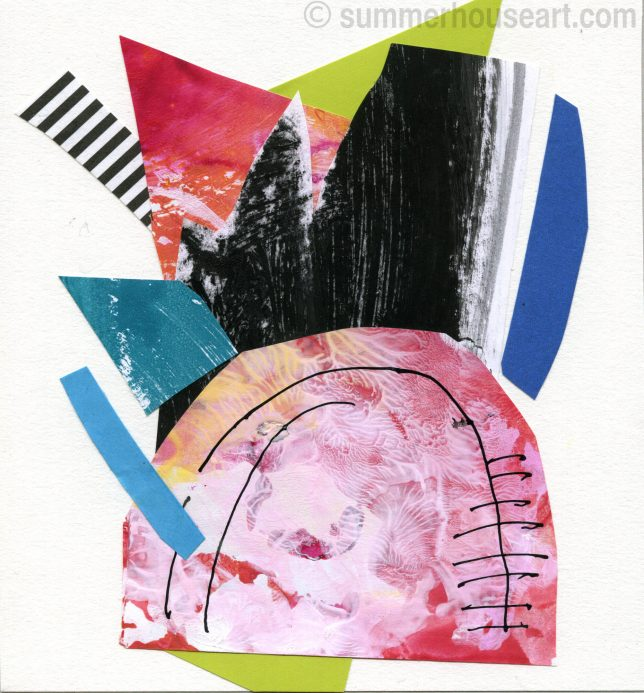 Small Abstract Paper collage, Helen Bushell, summerhouseart.com